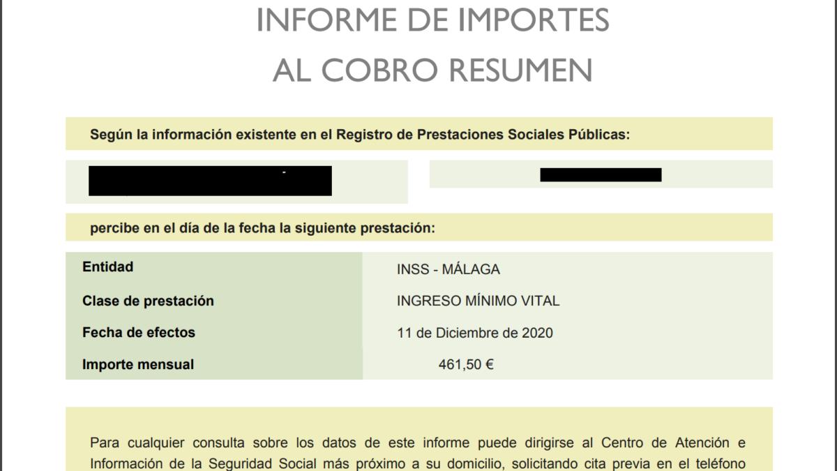 El Ingreso Mínimo Vital ya aparece como tal en el informe integrado de prestaciones